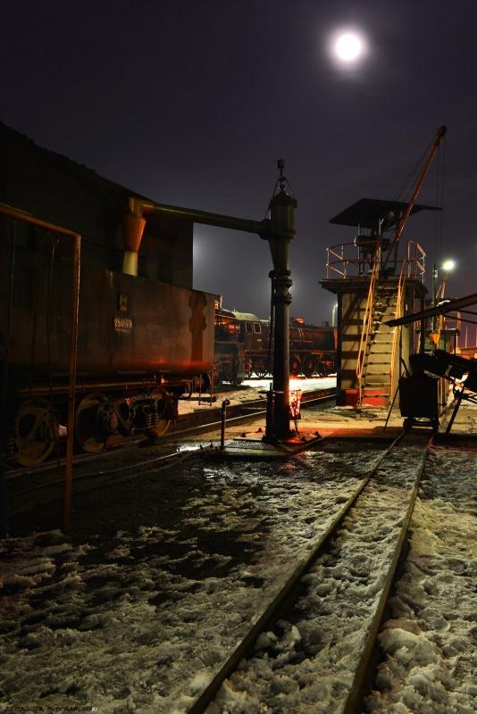 Parowozownia Wolsztyn nawadnianie parowozu Ol49-69